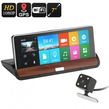 Car DVR Kit - GPS Navigation, 7 Inch Display, 2 Cameras, Android OS