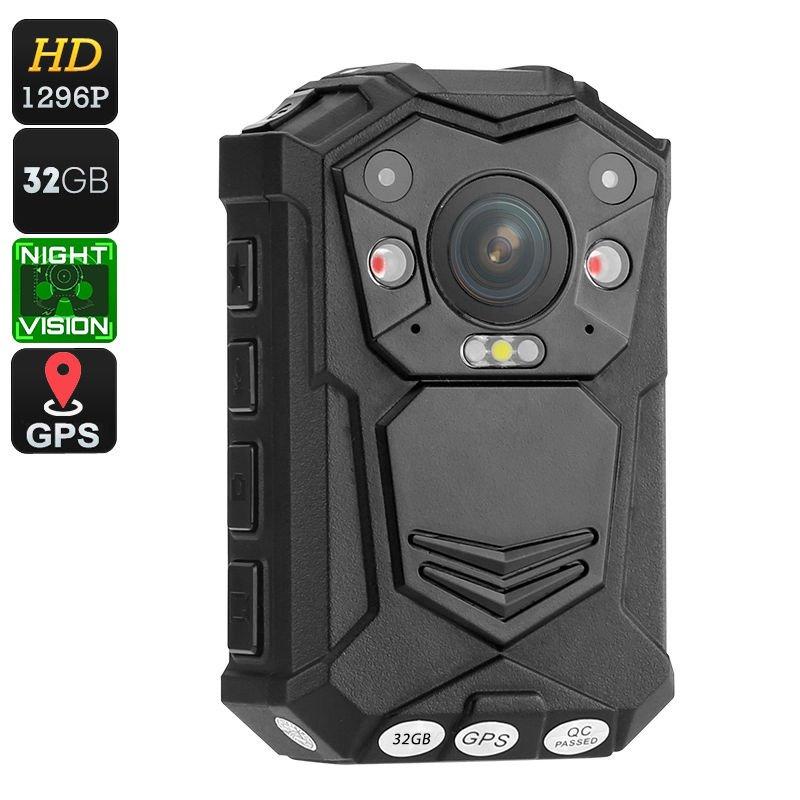 Police Body Worn Camera - 10M Night Vision, 1296p, 140 Degree Lens, CMOS Sensor