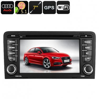 2-DIN Car DVD Player For Audi A3 - Android OS, WiFi, GPS, 7 Inch Display
