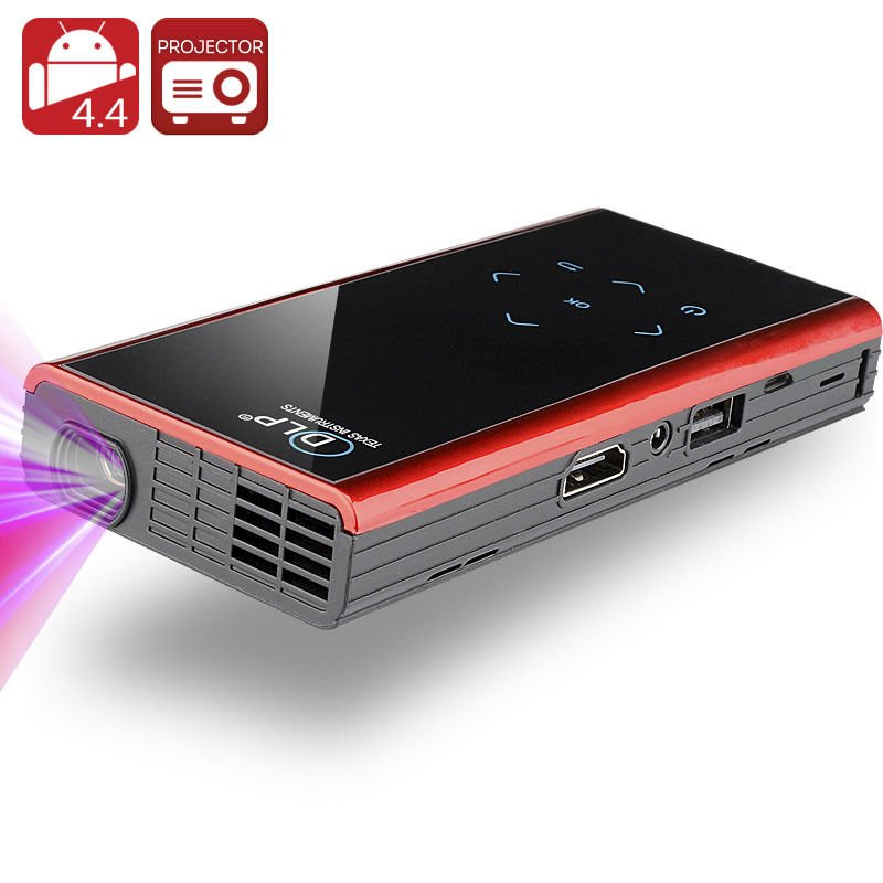 120 Lumen Mini Android DLP Projector - Android 4.4, Quad Core CPU