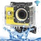 H16 1080P Portable WiFi Waterproof Sport Camera (Yellow)