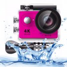 H9 4K Ultra HD1080P 12MP 2 inch LCD Screen WiFi Sports Camera (Pink)