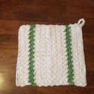 Cotton Dishcloth Washcloth White with Green Stripes on hand