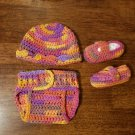 Sherbet 0-3 month Diaper Cover, Hat and Shoe Set - On Hand