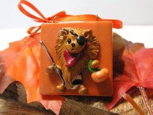 Pomeranian The Halloween Pirate Polymer Clay Dog Tile