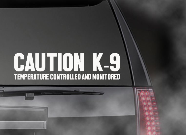"""CAUTION K-9 Temperature Controlled and Monitored decal Car/Truck  Appx Size 11"""""""