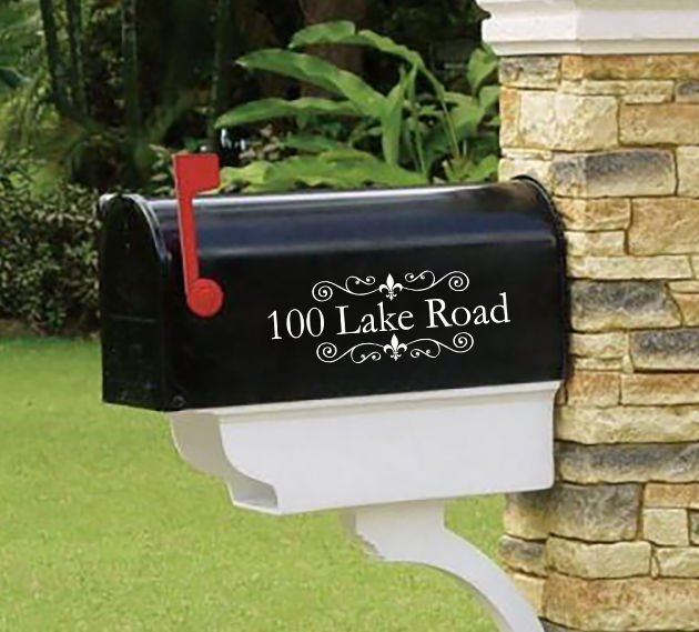 """Personalized vinyl MAILBOX decals! SET OF 2 - 3.5"""" X 10""""!  MAI-00001"""