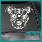 "PIT BULL SUGAR SKULL - Decal - Car/Truck/Window Dog Sticker!  9"" X 11"""
