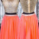Beaded Sequins Two Pieces Short See Through Prom Evening Homecoming Cocktail Dresses E0125