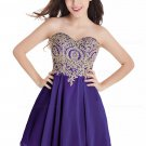 A-Line Sweetheart Gold Lace Appliques Short Purple Prom Dresses Party Evening Gowns E0285