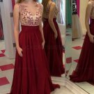 A-Line Illusion Neckline Burgundy Lace and Chiffon Prom Dresses Party Evening Gowns E0308