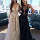 Sexy Low V-Neck Lace Tulle Long Prom Dresses Left Picture E0493
