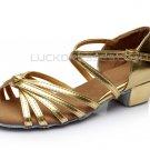 Women's Kids' Leatherette Dance Shoes Latin/Ballroom Chunky Heel Gold Dance Shoes D601021