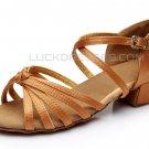 Women's Kids' Dance Shoes Latin/Ballroom Satin Chunky Heel Brown Dance Shoes D601024