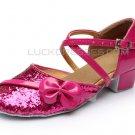 Kids' Fuschia Sparkling Glitter Flats Latin Dance Shoes Chunky Heels Modern Dance Shoes D601028