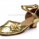Kids' Gold Sparkling Glitter Flats Latin Modern Dance Shoes Chunky Heels Party Shoes D601030