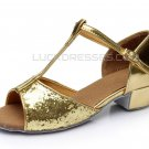Girl's Gold Sparkling Glitter Flats Latin Salsa T-Strap Dance Shoes Chunky Heels Party Shoes D601035