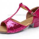 Girl's Fuschia Sparkling Glitter Latin Salsa T-Strap Dance Shoes Chunky Heels Party Shoes D601036