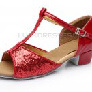 Kids' Red Sparkling Glitter Flats Latin Salsa T-Strap Dance Shoes Wedding Party Shoes D601037