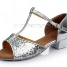 Kids' Silver Sparkling Glitter Flats Latin Salsa T-Strap Dance Shoes Wedding Party Shoes D601038
