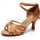 Women's Brown Satin Heels Sandals Latin Salsa With Ankle Strap Dance Shoes D602001