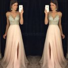 A-Line V-Neck Beaded Sequins Long Chiffon Prom Dresses Party Evening Gowns E0276