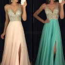 A-Line Beaded Sequins V-Neck Long Chiffon Prom Dresses Party Evening Gowns E0280