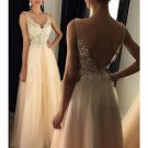 A-Line V-Neck Lace Tulle Long Prom Dresses Party Evening Gowns E0281