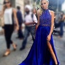 Sexy Beaded Blue Long Prom Dresses Party Evening Gowns with Slit E0432