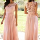 Long Pink Lace Chiffon Prom Dresses Party Evening Gowns E0470