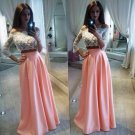 Two Pieces Off-the-Shoulder Lace Pink White Prom Evening Party Dresses E0681