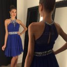A-Line Short Beaded Chiffon Blue Prom Evening Cocktail Homecoming Dresses E0087