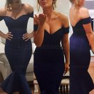 Mermaid Off-the-Shoulder Long Navy Blue Bridesmaid Prom Evening Formal Dresses E0174