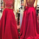 Two Pieces Off-the-Shoulder Red Beaded Long Prom Evening Formal Dresses E0175