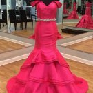 Mermaid Off-the-Shoulder Beaded Long Prom Dresses Party Evening Gowns E0303
