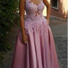 A-Line Illusion Neckline Lace and Satin Long Prom Dresses Party Evening Gowns E0310