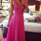 A-Line V-Neck Beaded Long Chiffon Prom Dresses Party Evening Gowns E0313