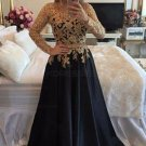A-Line Gold Lace Appliques Long Sleeves Prom Dresses Party Evening Gowns E0314