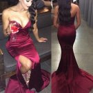 Sexy Mermaid Sweetheart Side Slit Burgundy Long Prom Dresses Party Evening Gowns E0320