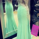 Mermaid One-Shoulder Beaded Long Prom Dresses Party Evening Gowns E0357