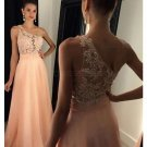 A-Line One-Shoulder Beaded Lace Chiffon Prom Dresses Party Evening Gowns E0444