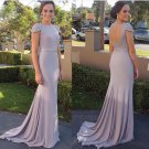 Mermaid Cap Sleeves Beaded Long Prom Dresses Party Evening Gowns E0448