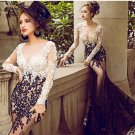 Sexy Mermaid Long Sleeves Black White Lace Prom Dresses Party Evening Gowns E0484