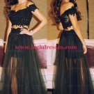 Two Pieces Off-the-Shoulder Lace Tulle Black Prom Evening Dresses L-045