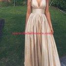 A-Line Deep V-Neck Long Prom Formal Evening Party Dresses E1079