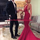 Sexy Red Mermaid Long Prom Formal Evening Party Dresses with Criss Criss Back E1137