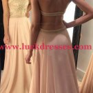 A-Line Beaded Halter Long Prom Formal Evening Party Dresses E1495