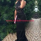Long Black Lace Halter Mermaid Prom Formal Evening Party Dresses E1496