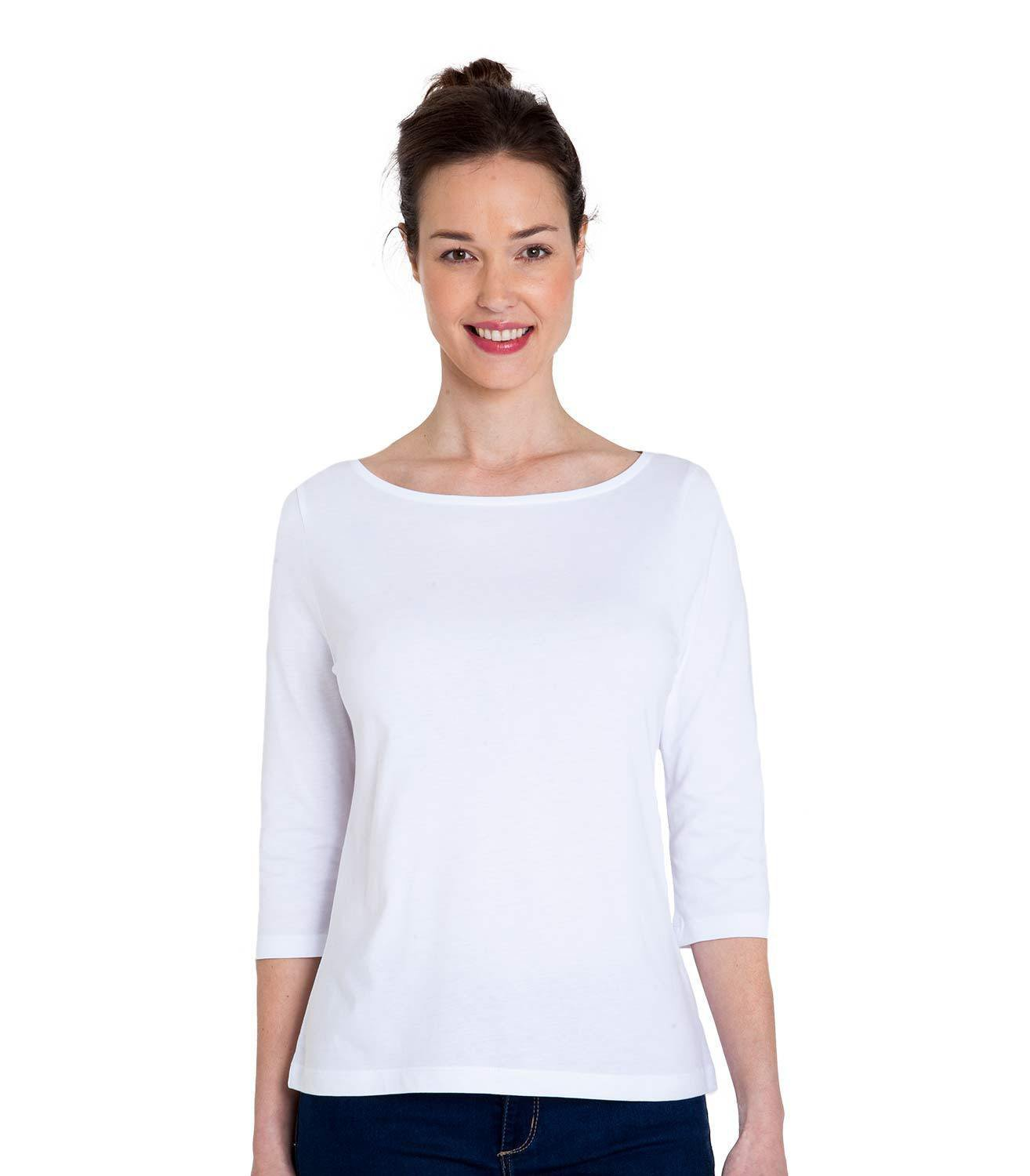 WoolOvers Womens Jersey 3/4 Sleeve Boat Neck Classic Casual T-Shirt Tee Top