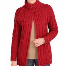 WoolOvers Womens Pure Wool Aran Funnel Neck Knitted Long Sleeve Cardigan Top